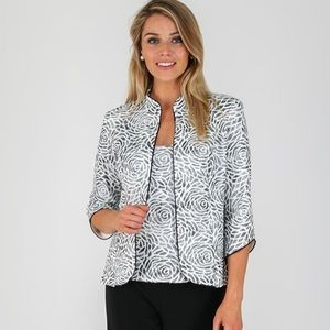 Joseph Ribkoff black white Rose print jacket 16 US